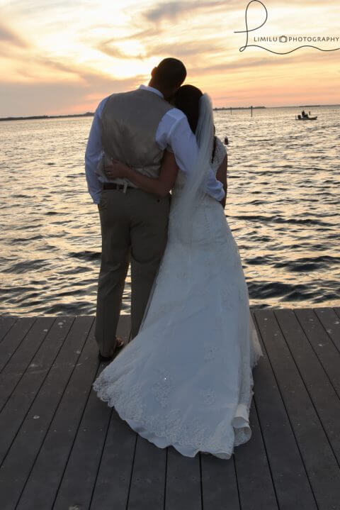 Newlyweds enjoying sunset views at Tarpon Lodge in Pineland, Florida