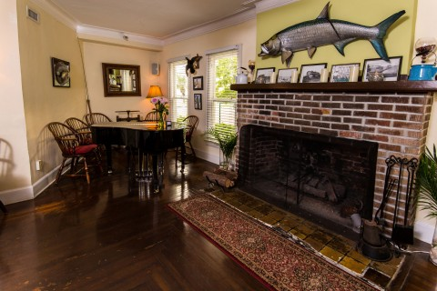 What else but a tarpon over the mantel?