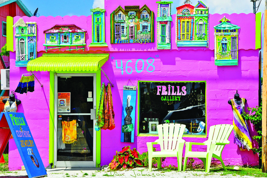 Colorful exterior of Frills Gallery in Matlacha