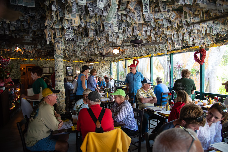 people in a bar on Cabbage Key, Florida
