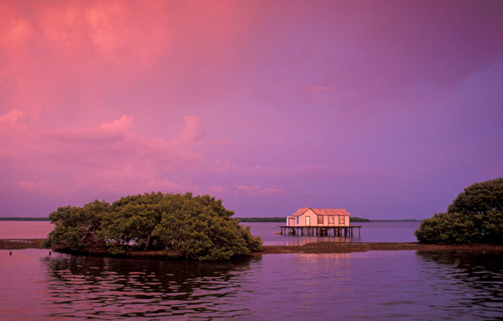 A lone fishing-shack stands in the calm waters of pine island, bathed in the soft light of a pinkish-purple sunset.