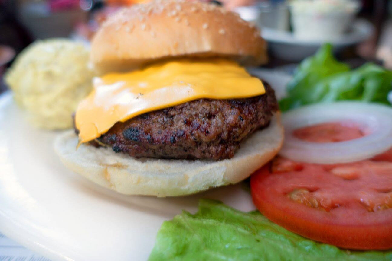 Close up view of Cabbage Key's famous cheeseburger in paradise.
