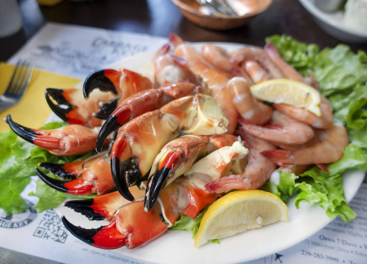 Islander for Two Dinner at Cabbage Key: ½ lb. of Peel & Eat Shrimp with 1 lb. of Fresh Stone Crab Claws