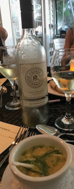 Bottle of wine at Tarpon Lodge's monthly wine dinner.